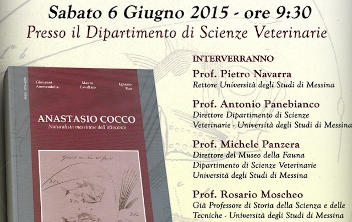 """""""Anastasio Cocco – Naturalista messinese dell'Ottocento"""". Il volume realizzato dal Museo della Fauna"""