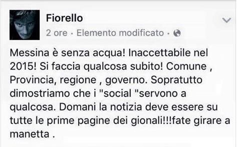 """""""Messina è senz'acqua"""", l'appello di Fiorello su Facebook"""