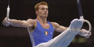22 Jul 1996: Yuri Chechi of Italy performs on the rings during the men''s team optionals at the Georgia Dome at the Centennial Olympic Games in Altanta, Georgia.