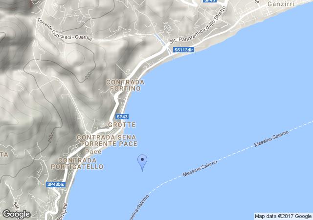 Mappa con coordinate del presunto ordigno bellico - Sant'Agata, Messina