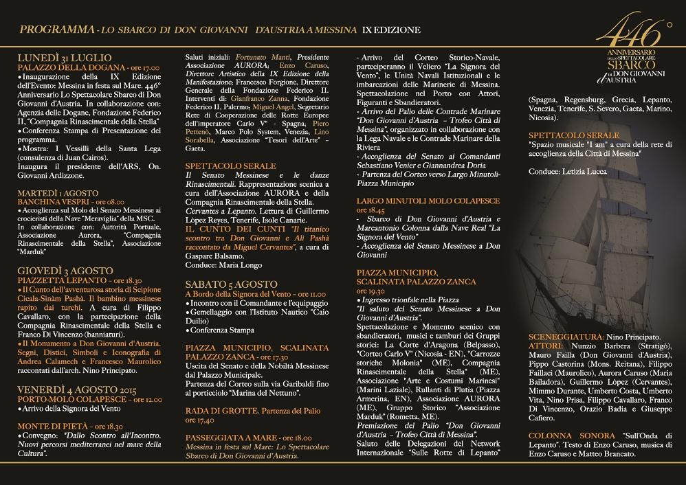 Foto programma dettagliato - Sbarco di Don Giovanni D'Austria 2017