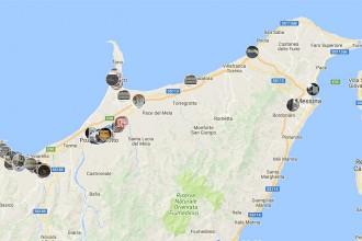 Foto della mappa delle affissioni abusive realizzata dal M5S