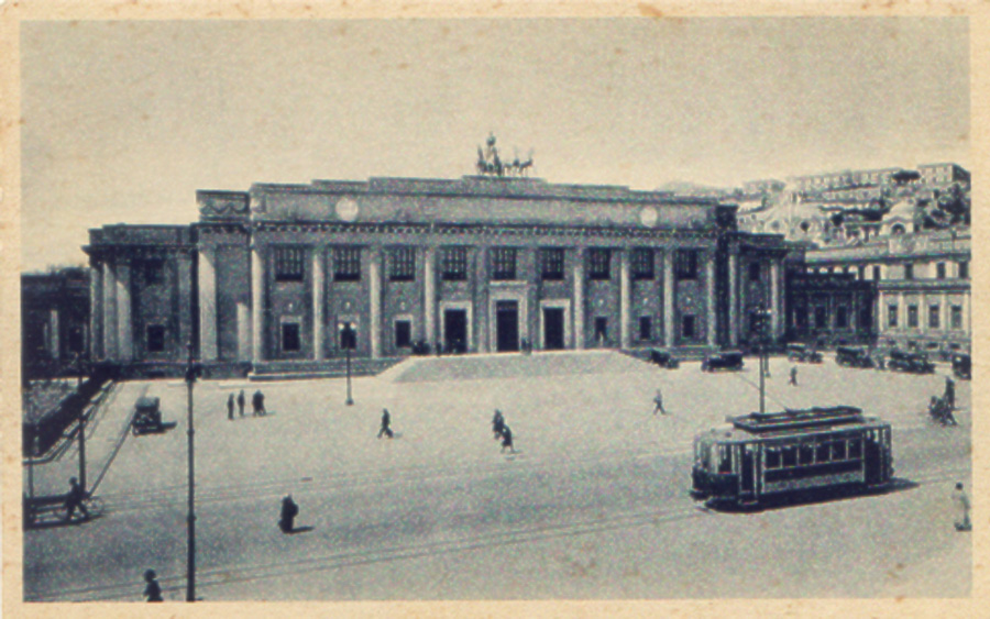 Scansione di cartolina storica del Tram di Messina