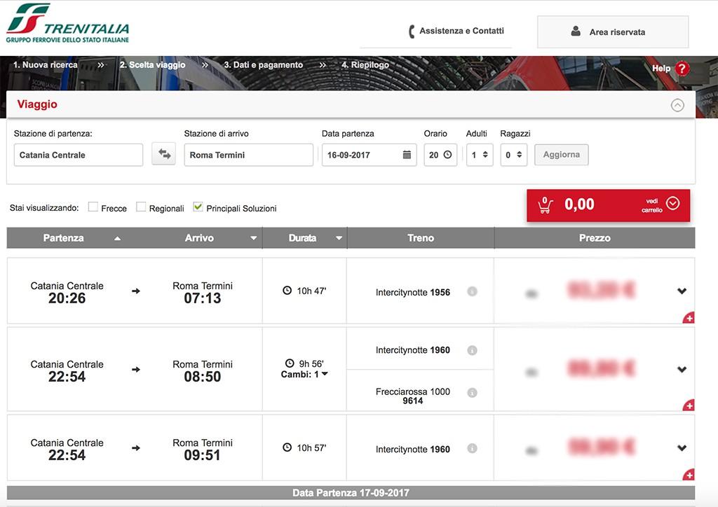Simulazione prenotazione online di un treno Roma - Catania