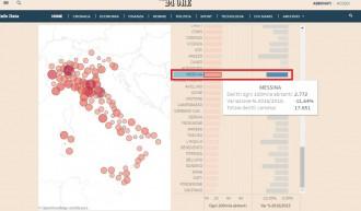 Foto della classifica del Sole 24 ore sui delitti commessi a messina