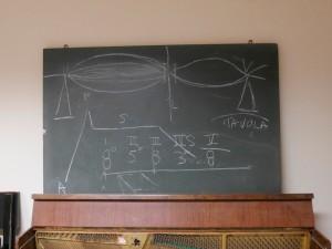 lavagna nel laboratorio restauro pianoforti - conservatorio corelli, messina