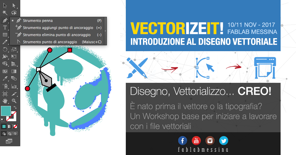 Locandina workshop Fablab Messina - disegno vettoriale