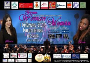 locandina dello spettacolo contro la violenza di genere from woman to woman che si terrà al palacultura antonello di messina l'1 dicembre