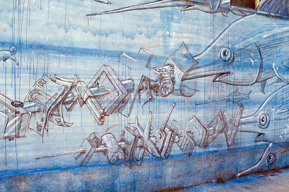 murales di blu sulla casa del portuale - messina