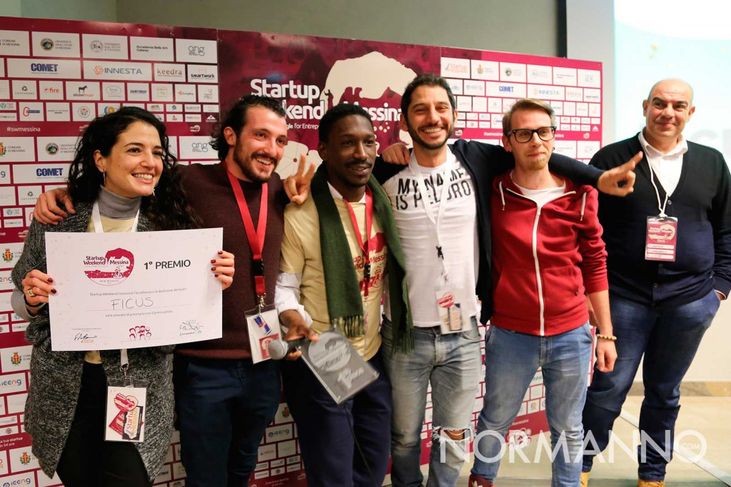 startup weekend messina 2017 - premiazione, i vincitori team ficus - palacultura