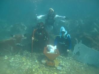 foto dei sub che partecipano al presepe vivente subacqueo di santa margherita - messina