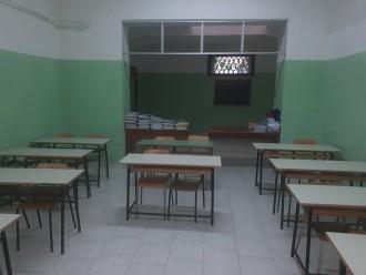 Aula della scuola pascoli-crispi dopo i lavori a seguito dell'incendio del 4 dicembre