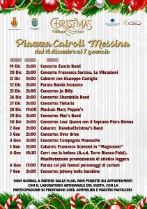locandina con gli eventi di natale a piazza cairoli - messina - 2017