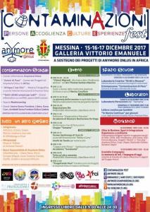locandina con il programma del contaminazioni fest dedicato ai diritti umani - galleria vittorio emanuele - messina