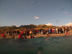 foto della spiaggia del lido zahir di santa margherita durante l'evento babbo natale arriva dal mare