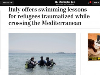 Screen della pagina del Washington Post con l'articolo dedicato all'iniziativa promossa dal nautico Caio Duilio di Messina in favore dei giovani migranti