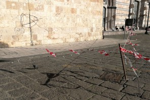 Messina. Caduta di calcinacci: transennato il Campanile del Duomo – FOTO