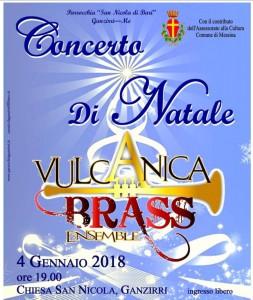 locandina del concerto di natale della Vulcanica Brass Ensamble che si terrà nella chiesa di san nicola di ganzirri - messina