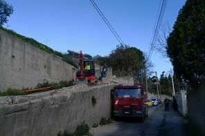 Muro pericolante di Larderia: avviati i lavori di messa in sicurezza