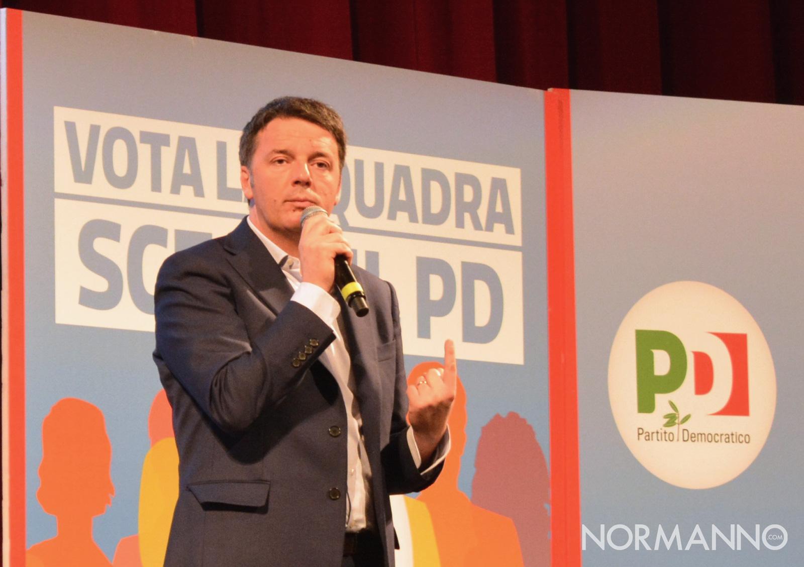 Foto di Matteo Renzi del convengo PD a Messina per le elezioni politiche 2018