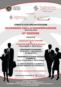 Locandina della terza edizione del corso di alta specializzazione in Economia della Cooperazione - Legacoop e Unime