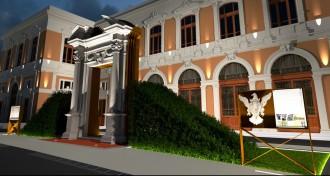 Immagine raffigurante il rendering 3D del portale da restaurare dell'Università di Messina