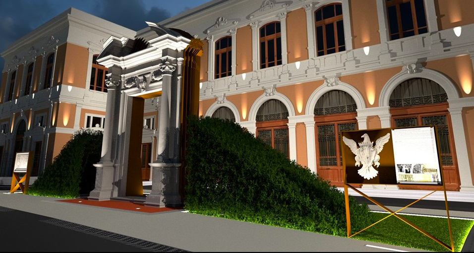Immagine raffigurante il rendering 3D del portale da restaurare dell'Università di Messina