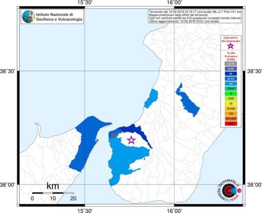 Terremoto a Messina. Stanotte scossa di magnitudo 3.7