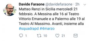 Screenshot del tweet di Davide Faraone che annuncia la visita di Mattero Renzi a Messina