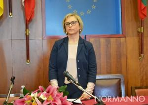 Foto di Emilia Barrile durante la conferenza stampa di presentazione della sua candidatura a Sindaco di Messina