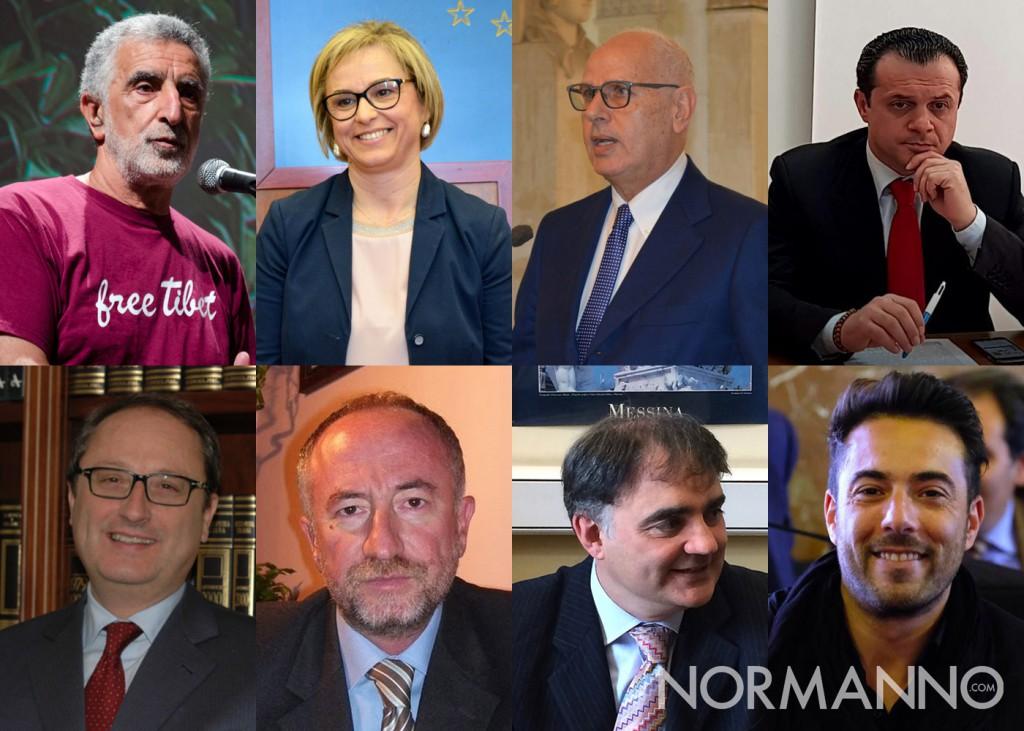 Foto composta con gli 8 candidati sindaco di Messina: Accorinti, Barrile, Bramanti, De Luca, Saitta, Sciacca, Trischitta, Zuccarello