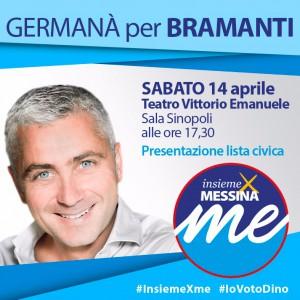 locandina per la presentazione della lista civica insieme x messina a sostegno di Dino Bramanti candidato sindaco - elezioni amministrative 2018 - messina