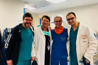 Equipe della divisione Cardiologia dell'ospedale san vincenzo di taormina che ha effettuato un intervento innovativo in materia di prevenzione dell'ictus
