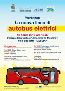 locandina del workshop per presentare la nuova linea di autobus elettrici al palacultura di messina
