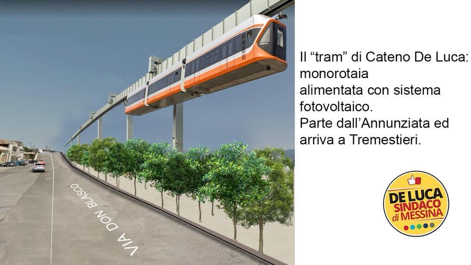 Progetto di tram sospeso - De Luca amministrative 2018 Messina