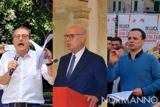 Foto a tre di Antonio Saitta contro Dino Bramanti e Cateno De Luca, elezioni amministrative 2018 messina