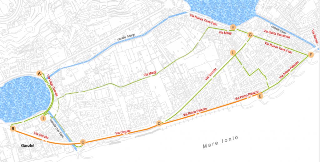 """Schema del percorso previsto per la pista ciclopedonale """"Laguna Capo Peloro"""""""