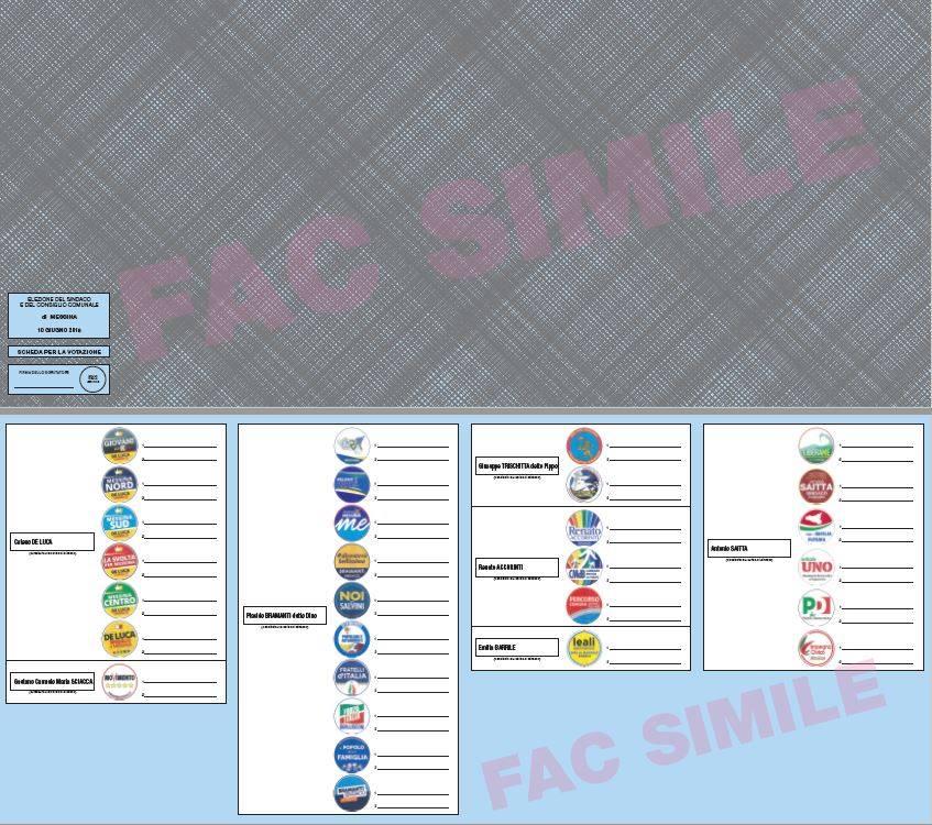Facsimile della scheda elettorale per le elezioni amministrative 2018 a Messina