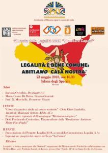 locandina della giornata della legalità 2018 – Ricordare Capaci, che si terrà al Palazzo della Città Metropolitana di Messina