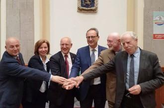liberi e forti per Messina appoggia Saitta - Nino Principato, Antonio Saitta e Maria Longo alla conferenza stampa di annuncio dell'appoggio al candidato sindaco del PD