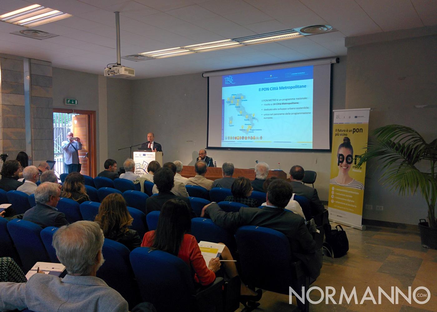 Foto della conferenza di presentazione dei progetti del PON Metro di Messina 2014-2020 - Intervento Giorgio Martini