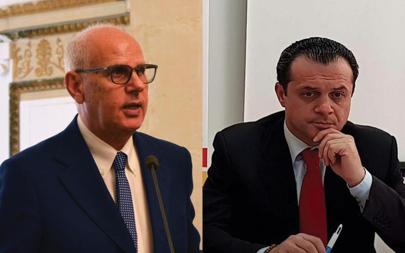 Foto confronto di Dino Bramanti e Cateno De Luca in vista del ballottaggio delle elezioni 2018 a Messina