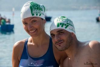 Foto di Cristina Guidi e Massimiliano Granata prima della traversata dello Stretto di Messina organizzata da AISM