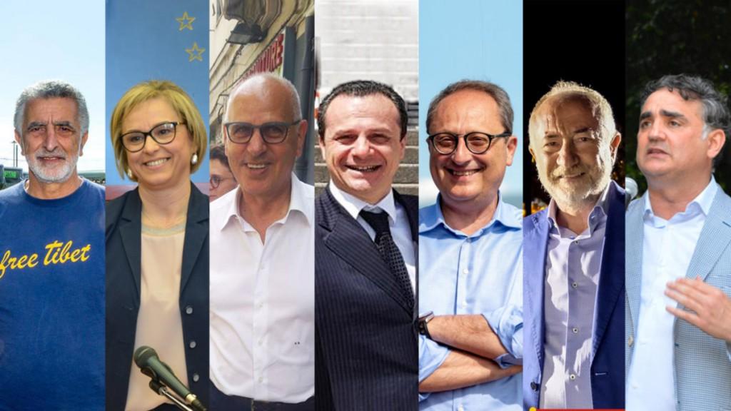 Accorinti, Barrile, Bramanti, De Luca, Saitta, Sciacca, Trischitta - candidati sindaco di Messina amministrative 2018