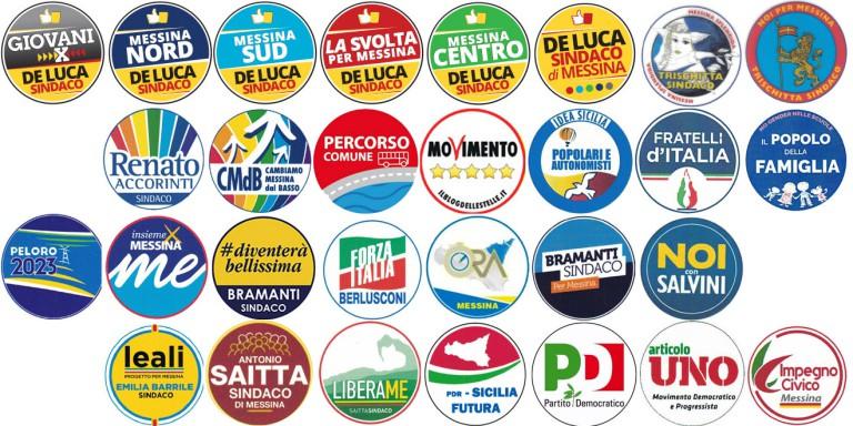 Immagine contenente tutti i loghi dei partiti candidati alle elezioni amministrative Messina 2018