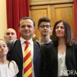 Foto di Cateno De Luca e della sua famiglia - proclamazione sindaco di Messina
