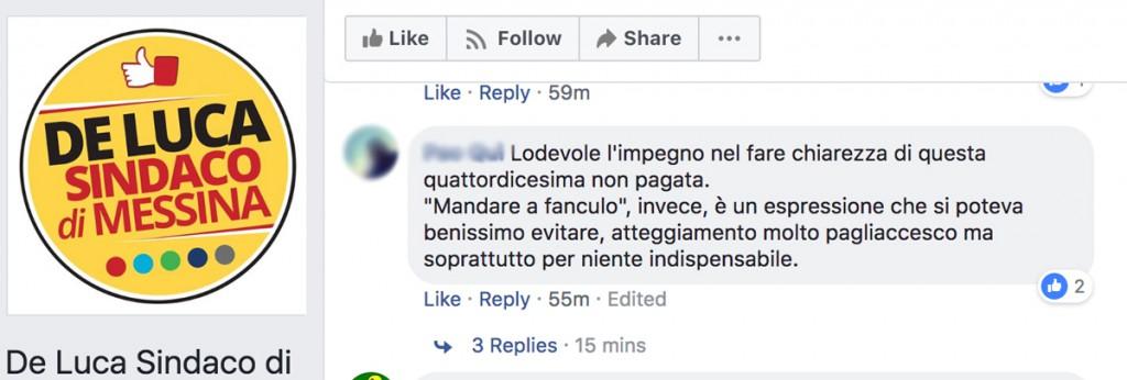 commento nella pagina facebook del sindaco cateno de luca