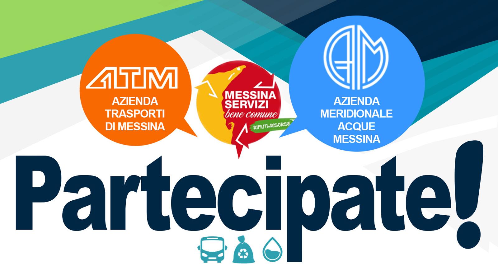 """Locandina della piattaforma """"Partecipate!"""" promossa da Cambiamo Messina dal Basso"""