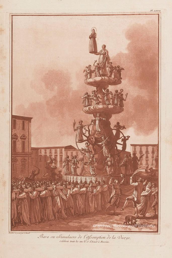 Stampa della Vara di Messina risalente al 1875