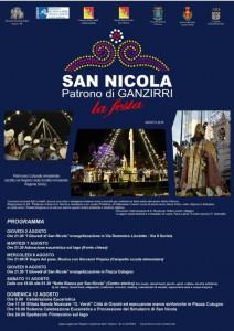 locandina con il programma degli eventi previsti per la festa in onore di San Nicola di Bari che si terrà a Ganzirri - messina